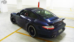 997 Turbo S Rear (Lalo Barsi) Tags: blue brazil brasil view top sopaulo garage rear 911 s turbo porsche 997 pdk