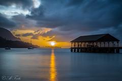 Sunset over Hanalei Bay (Al Ferla) Tags: ocean longexposure sunset sun reflection beach water night clouds bay pier dock kauai hanalei