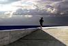 Mens sana in corpore sano (meghimeg) Tags: shadow sea sky woman sun clouds pier donna nuvole mare ombra run explore sole imperia corsa 2014 molocielo