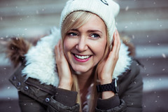Vera (Tim RT) Tags: blue winter light red portrait woman white snow blur color detail sexy art girl beautiful smile fashion female laughing canon pose germany deutschland photography tim nice blurry eyes flickr photographer dof natural outdoor south fine 85mm ring full cap ii portraiture frame laugh blonde l 5d canon5d snowing usm lovely tones rt f12 mark3 expresion reutlingen booked canon85mmf12 canon85mm 5dc yourbestoftoday 5d3