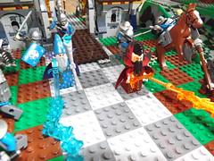 Fire and Ice Wizards (Nilbog Bricks) Tags: ice fire lego wizard magic dragons battle fantasy minifigs custom dungeons moc minifigures kreo brickforge brickquest brickwarriors