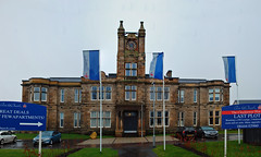 Save the clock tower! (beqi) Tags: panorama history architecture hospital stonework woodilee lenzie photoshoppery 2015