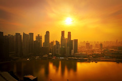 Singapore Sunset MBS (Nits D'silva) Tags: sunset sun weather photoshop river photography nikon singapore warm cityhall edited event 1750 cbd tamron rom f28 nithya mbs d300 singaporesunset riversingapore marinabaysans marinabaysandssunset
