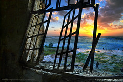 sunset in emptiness.... (Love me tender .**..*) Tags: windows sunset sky colors clouds greek photography ruins factory view greece piraeus dimitra drapetsona kirgiannaki