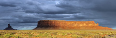 Monument Valley Region Sunrise (3:1) (glennlewisphotography) Tags: sunset summer arizona panorama usa cloud storm southwest west beautiful clouds america landscape utah scenery butte desert cloudy stormy panoramic monumentvalley trave