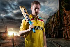 Cricket world cup selfie. (J.woof) Tags: world newzealand cup canon australia cricket 1992 worldcup aussie 6d cockatooisland 2015 strobist 400d throwbackjersey