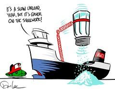 salt boat (DSL art and photos) Tags: sketch salt cargo greatlakes corrosion lakefreighter selfunloader
