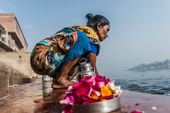Getting Ready for Prayers | Yamuna Ghat,Mathura,India (vjisin) Tags: travel woman india texture river nikon asia ritual prayers ghat mathura nikond3200 travelphotography indianwoman yamuna chennaiweekendclickers nikonofficial cwc497