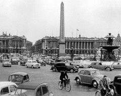 Paris, 1950s (cruisemagazine) Tags: street cars look that de found this see la photo site do fifties place traffic you photos object it here since concorde when his what late even much parked said he dedicated ronan monuments dates today ran has probably sixties though changed assessment pavers bicyclists believes inclined confirms  decades braving were a so pariss