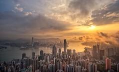 Sunrise, Hong Kong (urbanexpl0rer) Tags: china city skyline sunrise buildings hongkong asia cityscape skyscrapers thepeak offices