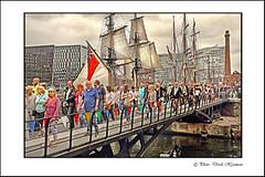 CROSS OVER THE BRIDGE. (Derek Hyamson) Tags: people liverpool candid spectators hdr albertdock 2016 merseyriverfestival