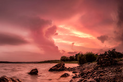 Storm Cell in Soft Sunset (jmcpheeters) Tags: sunset lake night photography day time places land bluehour goldenhour cloudscapes categories photospecs typeofphotography