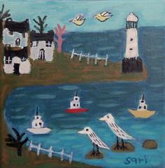 "#1338 ""Lighthouse"" (sariart2) Tags: ocean original houses light lighthouse house seascape abstract art birds painting boats acrylic raw child folk ooak like sari childlike azaria noy"