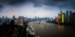 dreaming in Shanghai - Huangpu River (Rob-Shanghai) Tags: china city river lights glow cityscape shanghai pano indigo dreaming dreamy huangpu lujiazui indigohotel leicaq