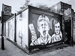 """Paint War (Revised)"" (harmanbailey) Tags: boy streetart london girl french lumix paint streetsign brush panasonic hackney eastend zabou tz10"