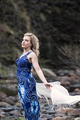 Kristina (bonavistask8er) Tags: blue light portrait fashion scarf river outdoors model nikon dress natural wind 80200 d7100