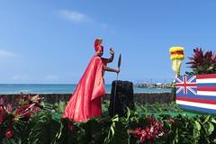 King Kamehameha float (BarryFackler) Tags: ocean sea holiday man water truck outdoors hawaii polynesia pacific outdoor flag horizon parade seawall celebration event pacificocean cape kane anthurium float occasion kona saltwater spear flatbed polynesian monstera kailuakona 2016 hawaiianislands kahili hawaiicounty hawaiianflag aliidrive hawaiiisland kailuabay sandwichislands kingkamehamehaday westhawaii mahiole northkona kingkamehamehadayparade barryfackler barronfackler 100thannualkingkamehamehadayparade