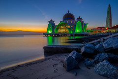 Majestic blue of Malacca Straits Mosque (BooJunk) Tags: ocean city travel blue sunset sky building tourism beach monument nature beautiful architecture night sunrise landscape dawn twilight scenery asia view symbol dusk islam religion scenic floating belief landmark scene mosque shore malaysia historical straits melaka masjid malacca attraction islamic selat