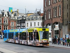 "GVB tram 2087 ""TELE 2"" (streamer020nl) Tags: cats holland netherlands amsterdam cat kat chat 14 nederland tram katze paysbas muntplein abnamro strassenbahn niederlande tele2 gvb 2016 rokin 2087 tram14 250516"