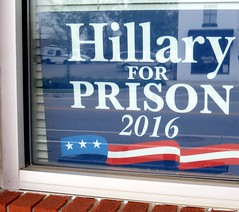 HILLARY FOR PRISON 2016. (kennethkonica) Tags: usa color reflection window sign america canon midwest random outdoor indianapolis text president politics border hilary indy indiana blinds redwhiteblue freespeech global hoosiers canonpowershot marioncounty hilaryclinton hilaryclintonforprison crookedclinton