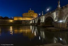 On the River Tiber in Rome. 22nd May 2016. (craigdouglassimpson) Tags: italy rome castles water reflections bridges rivers tiber nightscenes pontesantangelo castelsaintangelo