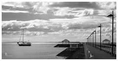 Yacht near the jetty (pbaddz) Tags: blackandwhite bw water clouds boats bay yacht jetty australia brisbane queensland moreton moretonbay wynnummanly