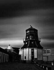 Old Harbour Master's Tower, Aberdeen Harbour (PeskyMesky) Tags: longexposure sky blackandwhite bw cloud monochrome architecture canon scotland blackwhite pov aberdeen le northsea cloudscape aberdeenharbour northeastscotland canoneos500d oldharbourmasterstower