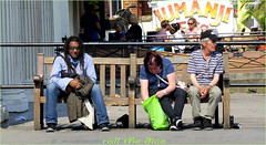 `1712 (roll the dice) Tags: london kilburn nw6 rasta afrom irish sunny hot weather lunch bench black man couple sexy streetphotography film advertising people natural sad mad funny uk art classic urban unaware unknown england canon tourism strangers portrait candid cap bag shops shopping fashion boozer drinking rough happy
