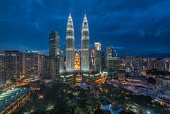 Kuala Lumpur City (BP Chua) Tags: city travel buildings landscape nikon asia cityscape petronas towers wideangle malaysia d750 bluehour kualalumpur kl klcc