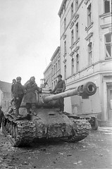 Soviet tank is-2 on the street, Stargard. 1945