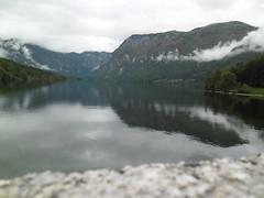 SAM_1466 (pinkyy photography) Tags: bridge cloud mountain lake brick water rain stone boat glaciallake bohinjlake