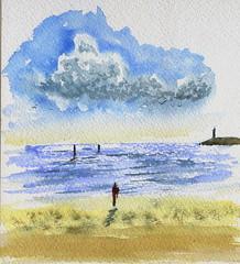 Sur la plage (ybipbip) Tags: watercolor painting landscape paint peinture watercolour acuarela paysage pintura aquarela aquarell acquerello akvarell