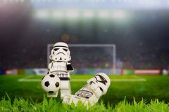 Olive & Tom...troopers (Thieu | Photography) Tags: light sport studio toys foot starwars football goal lego euro soccer stormtroopers stormtrooper deathstar clonetroopers takle