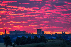 Burning morning sky over Lund (Passe-) Tags: morning light cloud sun lund nature silhouette skyline architecture clouds sunrise skne sweden magic first sverige magical