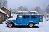 A few days after we left the Netherlands for the trip to sunny Spain. Still snow in the Ardennes [Belgium] (babakotoeu) Tags: car jeep offroad 4x4 toyota land series 40 landcruiser cruiser troopy bj40 40series bj45