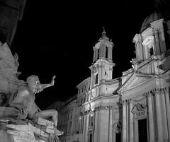 Roma Piazza Navone (belzebello) Tags: city light urban blackandwhite bw sculpture rome roma art church monochrome beautiful architecture night amazing italia catholic noiretblanc sony churches cathdrale lumiere piazza italie navona baw catholics