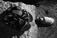 Yosemite (Ellemgee Photography) Tags: camping blackandwhite bw water bottle sandals stock yosemite waterbottle stockphotography chacos kleenkanteen ellemgeephotography ellemgee