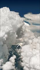 Cloud pillar above snow covered peak (Katarina 2353) Tags: alps skyscape europe aerialview vertorama katarinastefanovic katarina2353