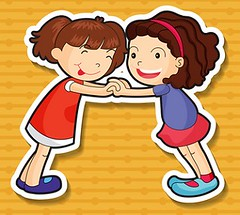Two sticker girls playing and holding hands (Tonya B4) Tags: girls playing art students childhood smiling illustration youth cutout fun happy design kid student graphics sticker child graphic image little drawing background small cartoon young picture australia clip clipart holdinghands vector pupil element pupils