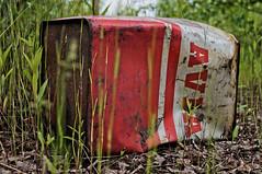 ([gegendasgrau]) Tags: railroad red plants green rot nature trash rust mood moody bokeh natur pflanzen atmosphere eisenbahn railway gas environment grn rotten rost scrap dortmund leben avia willowherb ambiance umwelt sprit jerrycan benzin kanister lowpov 2013 weidenrschen atmo abwrack