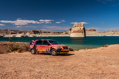 Utah | Lone Rock Beach, Lake Powell | California Dreamin' [EXPLORE 2016-07-06] (Facundity) Tags: summer water landscape utah sand desert outdoor naturallight roadtrip tourist shore coloradoriver lakepowell paintjob glencanyonnationalrecreationalarea lonerock californiacar nonurban nonurbanscene lonerockbeach wahweapbay canoneos70d