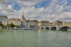 Basel mit Rheinschiff (damianschaerer) Tags: city bridge tourism nature water river switzerland view traffic swiss basel rhine canton
