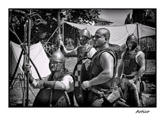 Pride (Artico7) Tags: old camp people blackandwhite bw italy men history monochrome metal lost blackwhite fuji steel elmo honor pride medieval knights historical shield brass medievale reenactment biancoenero romans spada lancia spear helmets rievocazionestorica friuli udine aquileia historicalreenactment scudo sward xe1