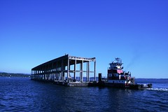 First pontoons are floated away (WSDOT) Tags: wsdot sr 520 sr520floatingbridge sr520bridgereplacementandhovprogram pontoons evergreen point floating bridge