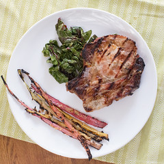 Miso Ginger Grilled Pork Chops and Swiss Chard (Just Me and the Clams) Tags: leaves recipe miso ginger yum swiss sesame grill pork recipes porkchop grilling stalks chard womanvsfood