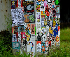 rainy day stickercombo with bunnybrigde (wojofoto) Tags: streetart holland amsterdam stickerart stickers nederland netherland stickercombo wojo flevopark amsterdamsebrug wolfgangjosten wojofoto