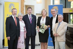 (L-R) Sean Kelly MEP, Merriman Director Dr Brd Quinn, University of Limerick ,Eamon  Cuiv TD, Liadh N Riada MEP, Prof Michael Cronin, DCU and Merriman Chairman Liam  Dochartaigh (European Parliament Office Ireland) Tags: ireland irish education europe politics arts lecture irishlanguage gaelic europeanunion mep europeanparliament summerschool coclare parlaimintnaheorpa europeanparliamentofficeinireland merrimansummerschool gallantalliesineurope