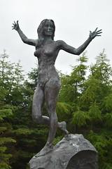 Faroe Islands. Kollafjrur.  A bronze of a naked female figure, no information. (Anne & David (Use Albums)) Tags: faroeislands faroes kollafjrur bronze statue naked woman iceland orkneyislands shetlandislands mvmagellan