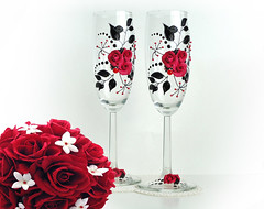 2a (Flowerdeco) Tags: flowers wedding red roses summer black flower glasses bride spring hand handmade painted clay weddings bridal bridegroom favor  flutes decorated glassware polymer