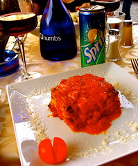 Lasagna in Rome (MJ_New York) Tags: trip summer italy food rome roma water dinner italia outdoor research dining academia lasagna 2012